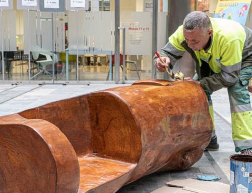 Operarios de Actúa SM y Acciona diseñan un banco con el tronco de un árbol centenario caído durante la DANA