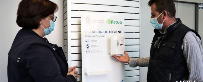 Actúa distribuye estaciones de desinfección en los principales edificios municipales de Torre Pacheco